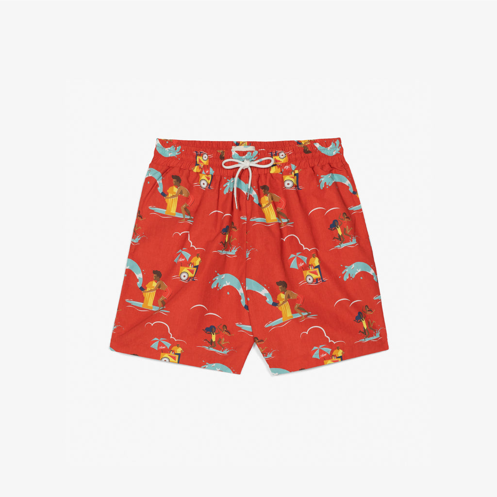 BLOCK PARTY SWIM SHORTS - RED - Shorts Aimé Leon Dore