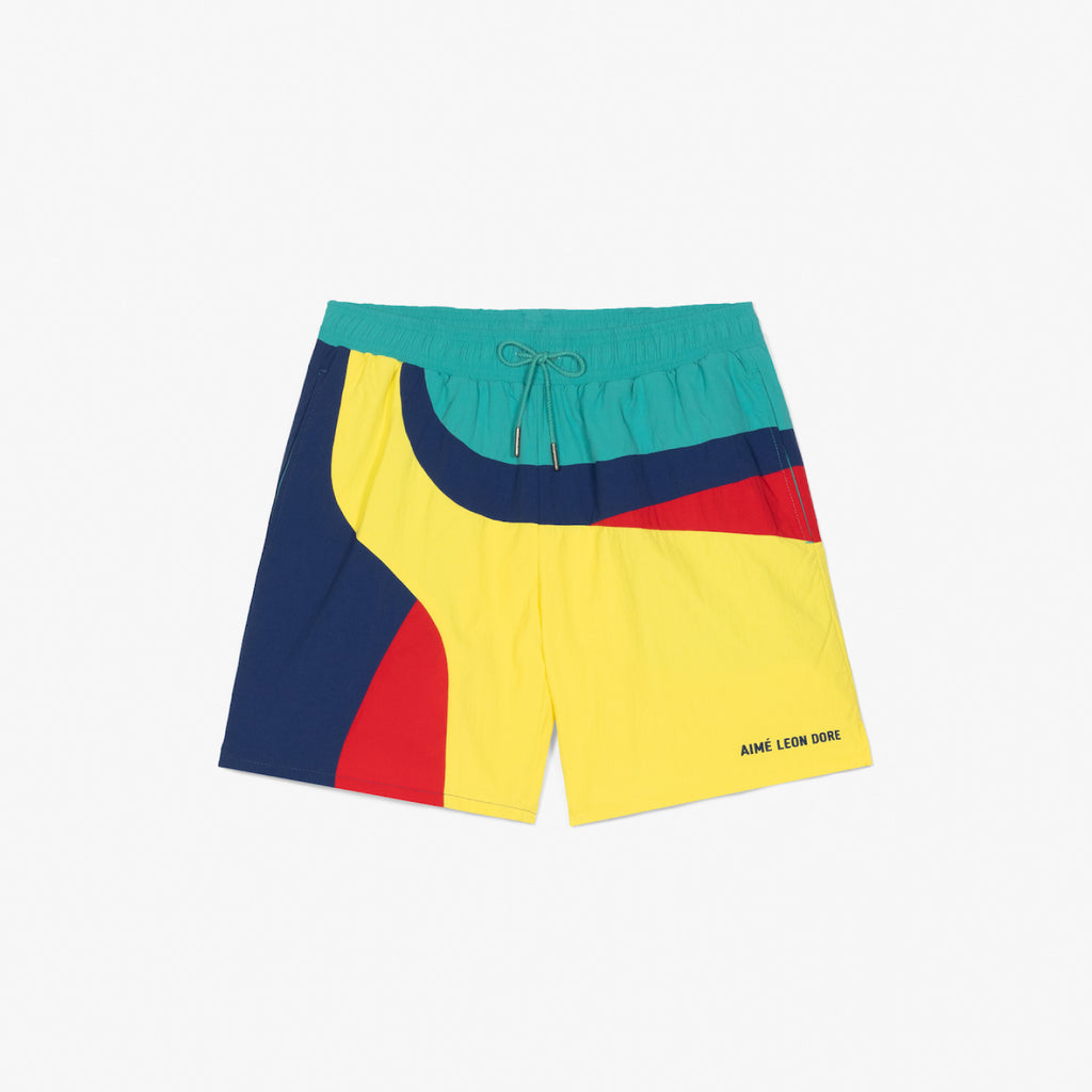 COLOR-BLOCKED SWIM TRUNKS - YELLOW - Shorts Aimé Leon Dore