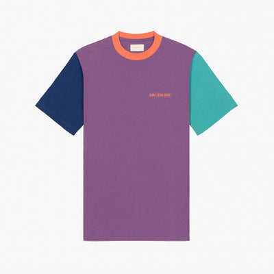 COLOR-BLOCKED LOGO TEE - PURPLE - Tees Aimé Leon Dore