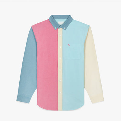 COLOR BLOCKED OXFORD SHIRT - PINK