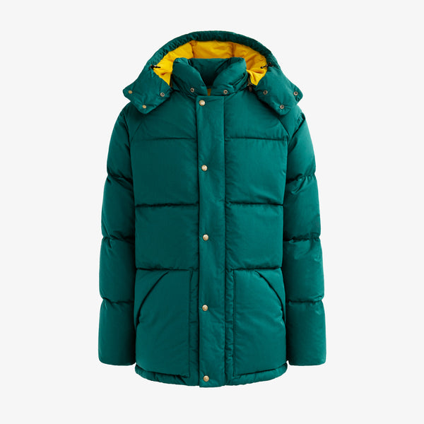 HOODED DOWN COAT - GREEN