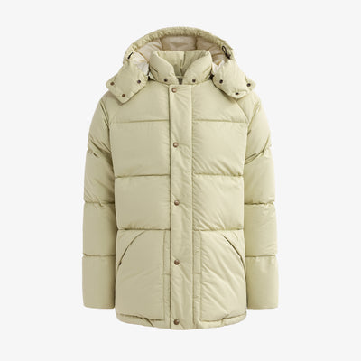 HOODED DOWN COAT - CREAM