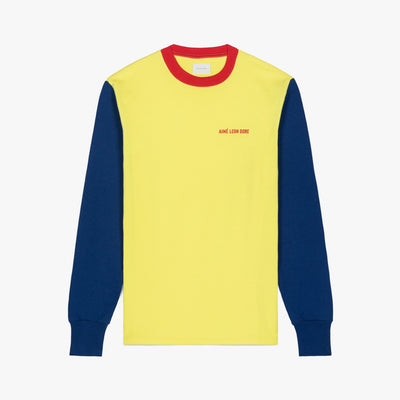 LS COLOR BLOCKED LOGO TEE - HIGHLIGHTER YELLOW