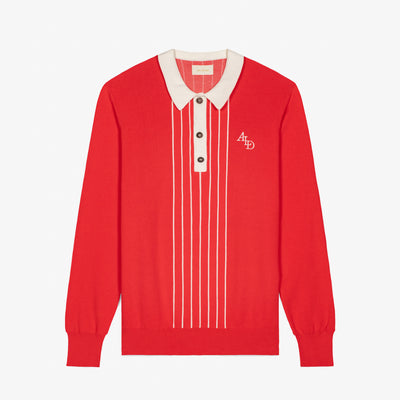 STRIPE KNIT RUGBY - RED
