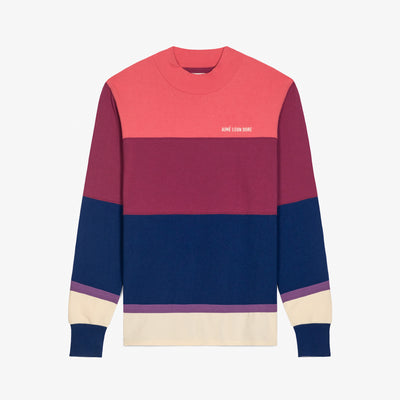 LS STRIPED MOCKNECK TEE - PINK