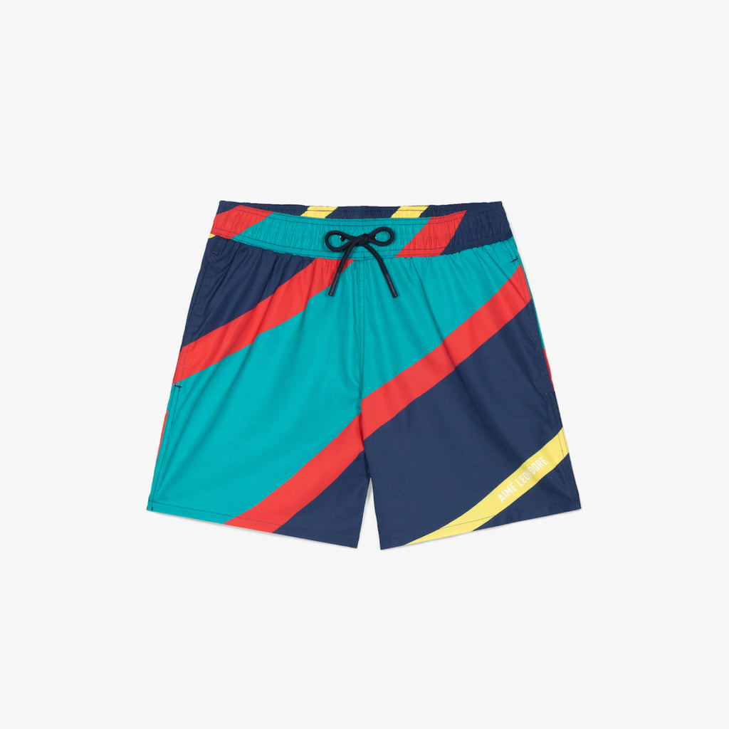 NAUTICAL STRIPE SWIM TRUNKS - NAVY