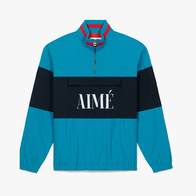NYLON QUARTER ZIP PULLOVER - TEAL