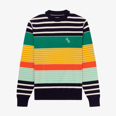 VARIEGATED STRIPE MONOGRAM SWEATER