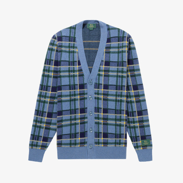 WOOL PLAID CARDIGAN - BLUE