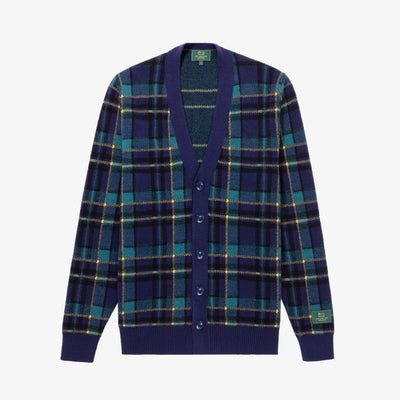 WOOL PLAID CARDIGAN - NAVY