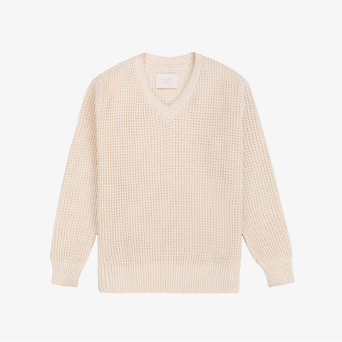 Waffle Knit V-Neck Sweater - Natural