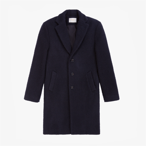 Nubby Wool Top Coat - Navy