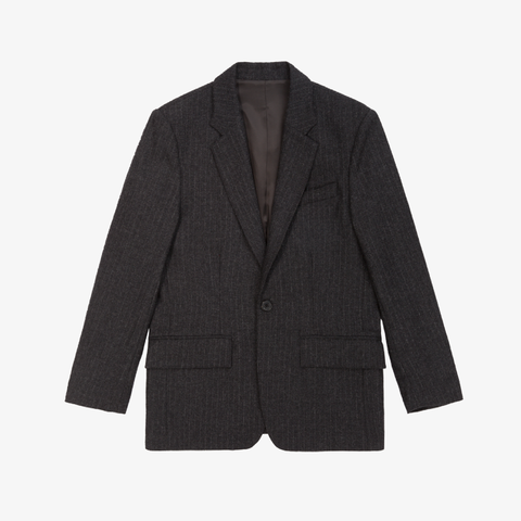 Merino Cashmere Single Button Blazer - Grey Pinstripe