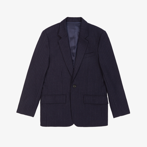 Merino Cashmere Single Button Blazer - Navy Pinstripe
