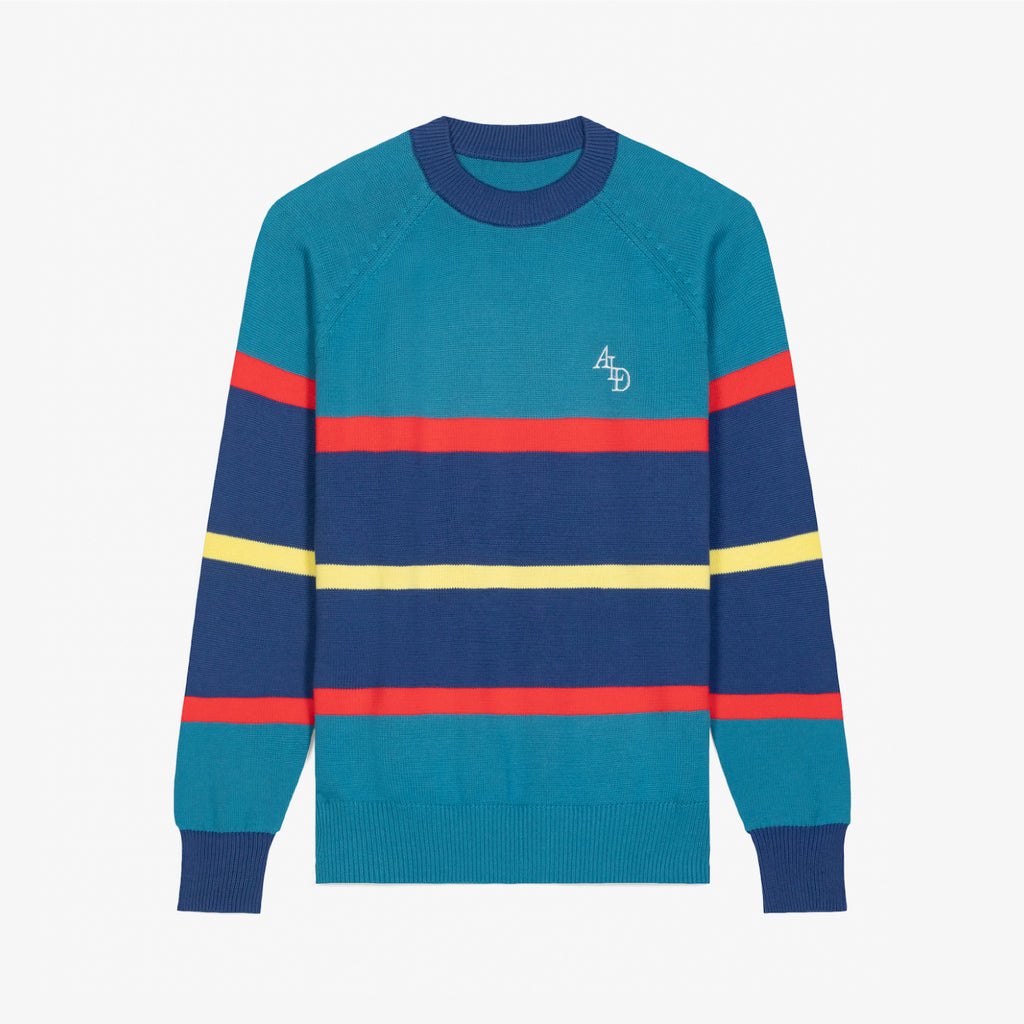STRIPE KNIT CREWNECK - TEAL