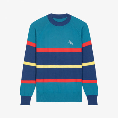 STRIPE KNIT SWEATER - TEAL