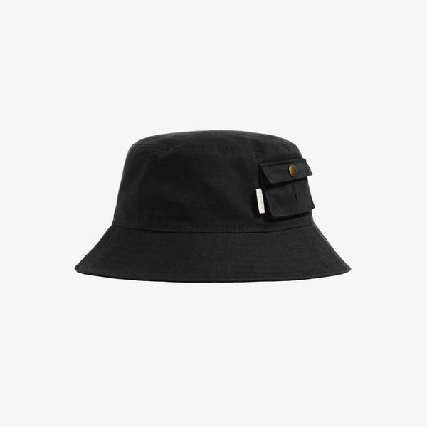 WAXED BUCKET HAT - BLACK