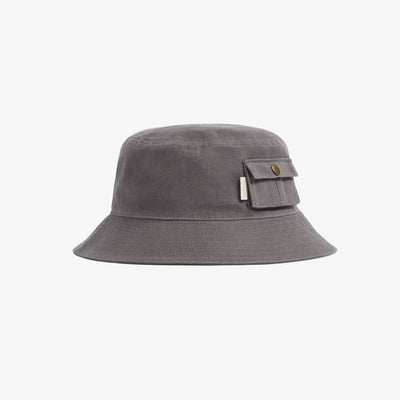 WAXED BUCKET HAT - GREY