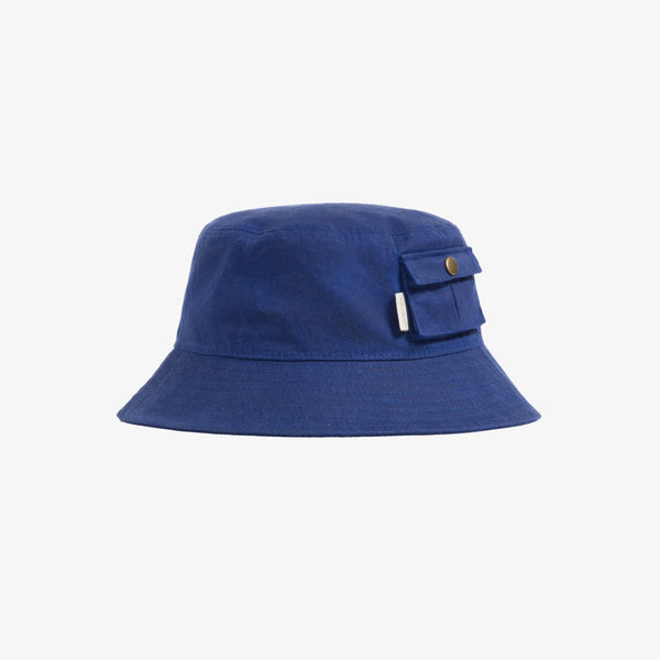 WAXED BUCKET HAT - BLUE