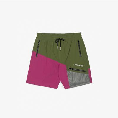 ZIPPER POCKET SHORTS - OLIVE/PURPLE