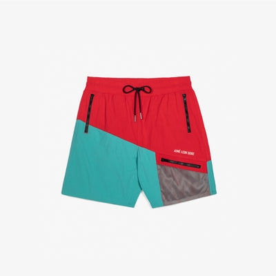 ZIPPER POCKET SHORTS - RED/TEAL