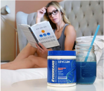 Athlete reading in bed behind a can of Evodreams