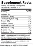Whey Protein Isolate 2lb Supplement facts