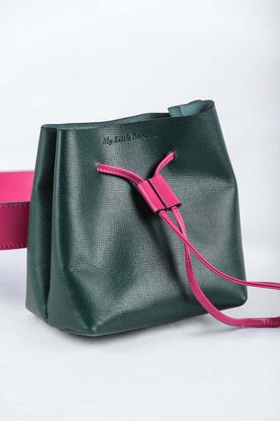 Banana Purse Green and Fushia Leather - Couscous Connection