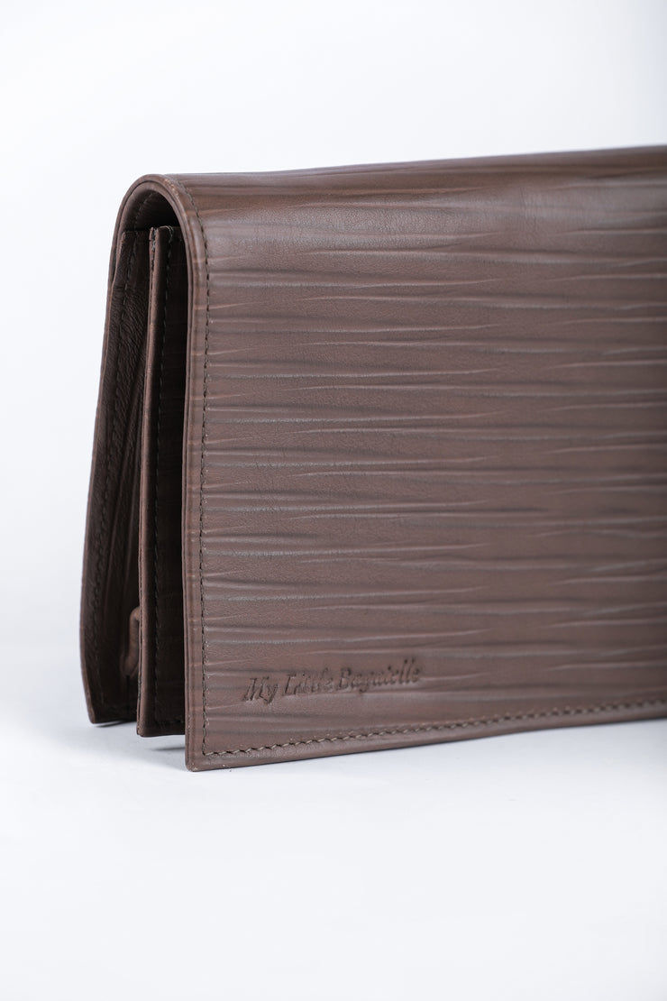 Brown Leather Clutch - Couscous Connection