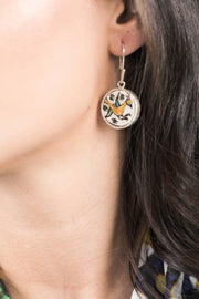 Earrings In Ceramic Medallions Yellow Birds - Couscous Connection