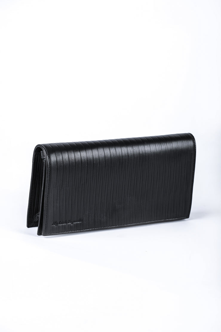 Black Leather Clutch - Couscous Connection