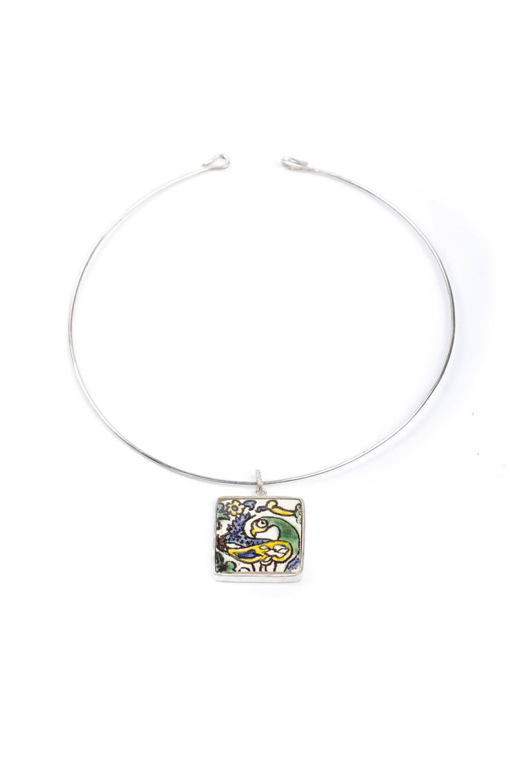 Silver choker necklace with ceramic pendant square - Couscous Connection