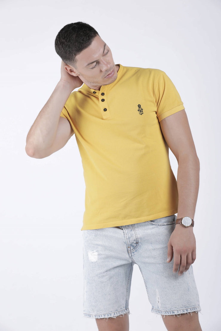 Tunisian collar Polo Shirt Mustard - Couscous Connection
