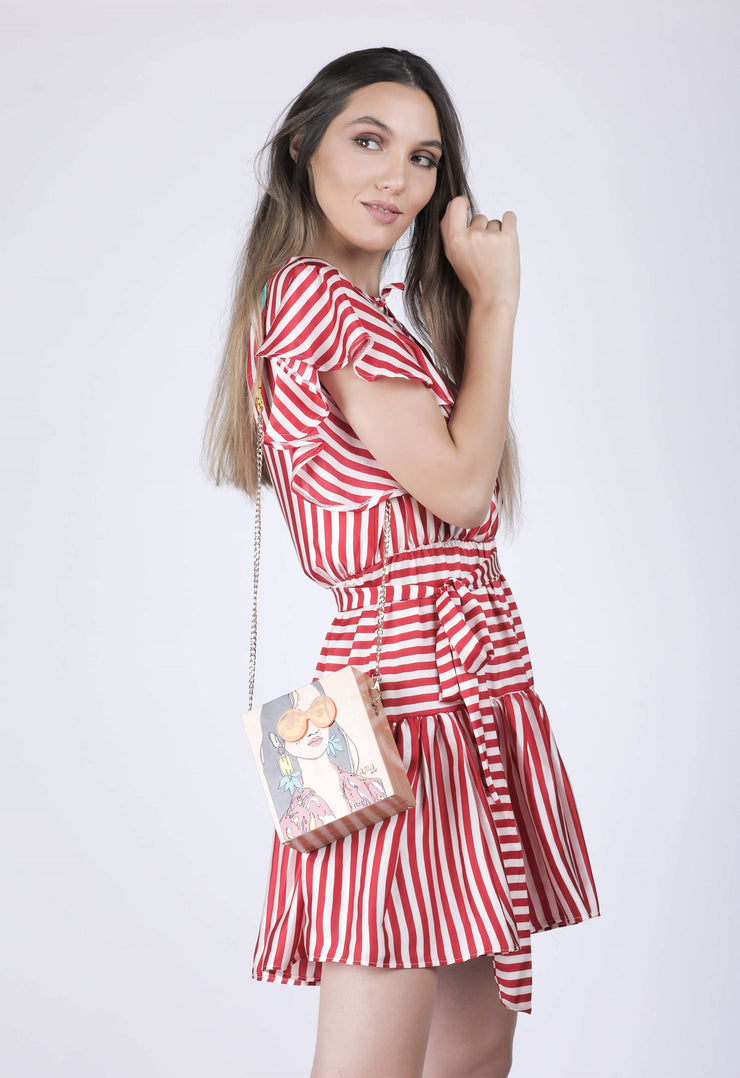 Red and white striped midi Dress - Couscous Connection