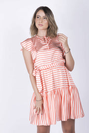 Coral and white striped midi Dress - Couscous Connection