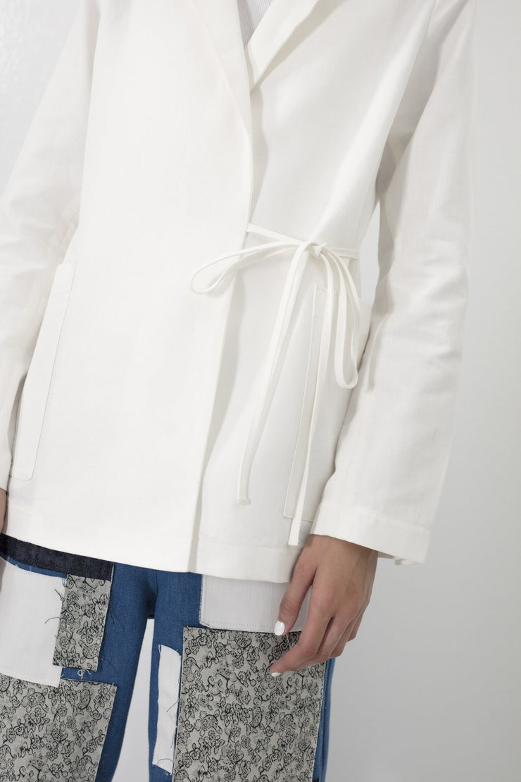 Wrap Blazer White - Couscous Connection