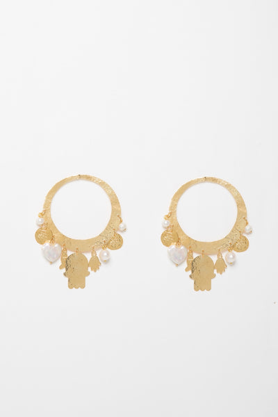 Gold Hoop Earrings With Pearls - Couscous Connection