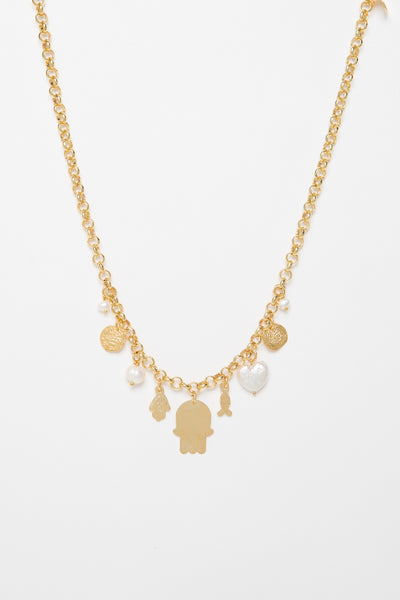 Gold Necklace With Pearls - Couscous Connection