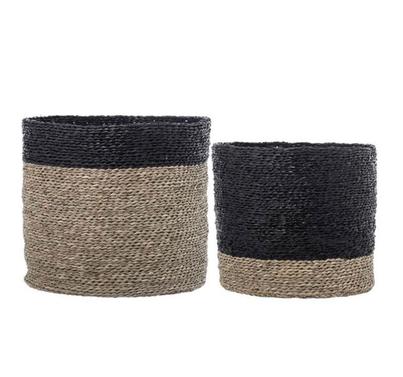Baskets Black & Natural Seagrass Basket Set - The Fond Home