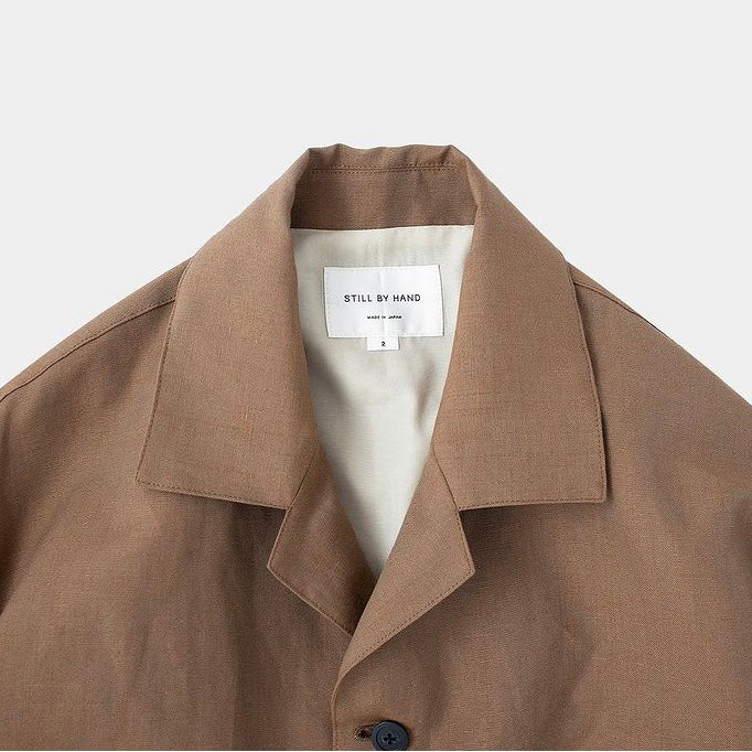 OPEN COLLAR BLOUSON JKT / LIGHT BROWN