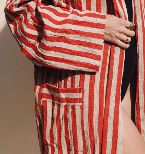 BEACH ROBE / RED STRIPE