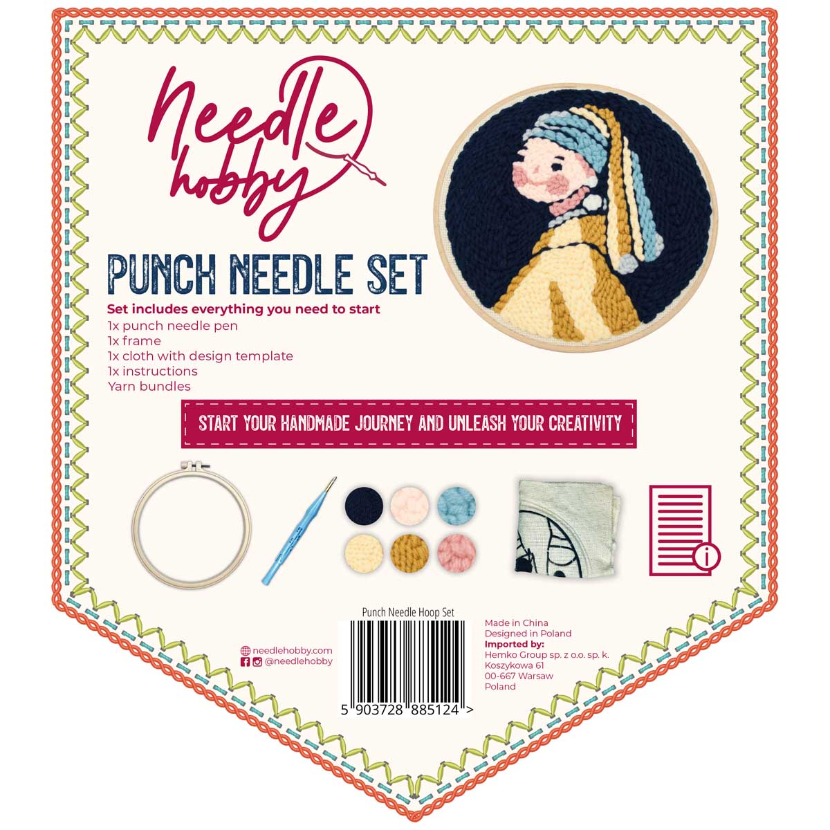 Girl With Pearl Earring Punch Needle Kit
