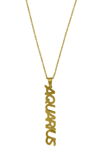 Zodiac Sign Nameplate Necklace Grande Dame