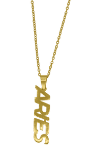 Aries Zodiac Sign Nameplate Necklace Grande Dame