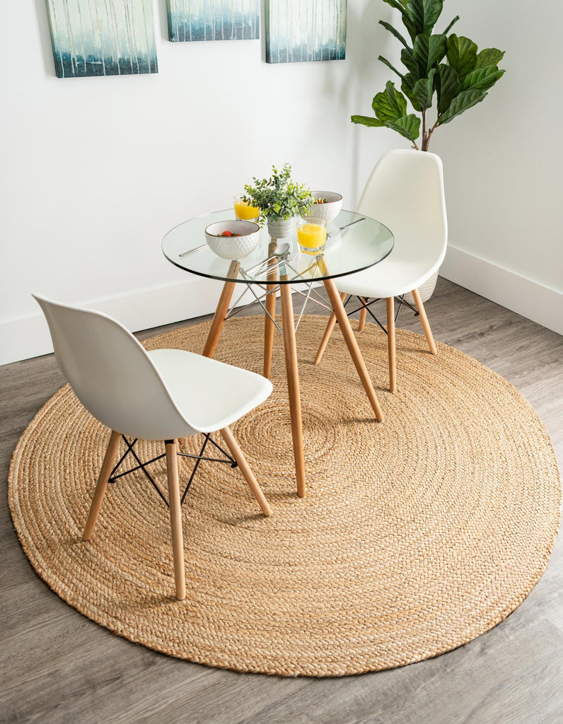 Round Jute Carpet - Natural Two Tones 4 X 4
