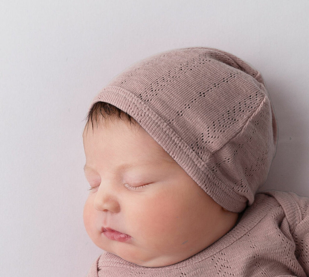 Pointelle Hat Thistle 3-6 month