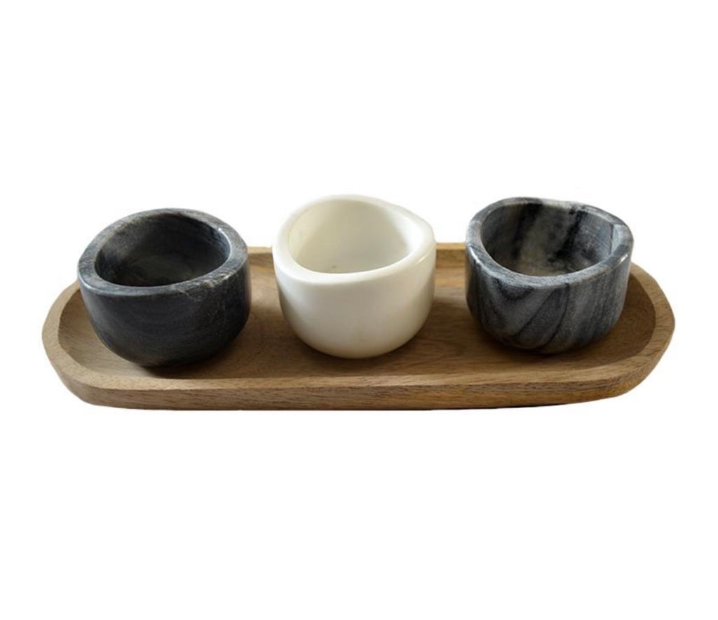Wood + Marble Pinch Bowls and Tray