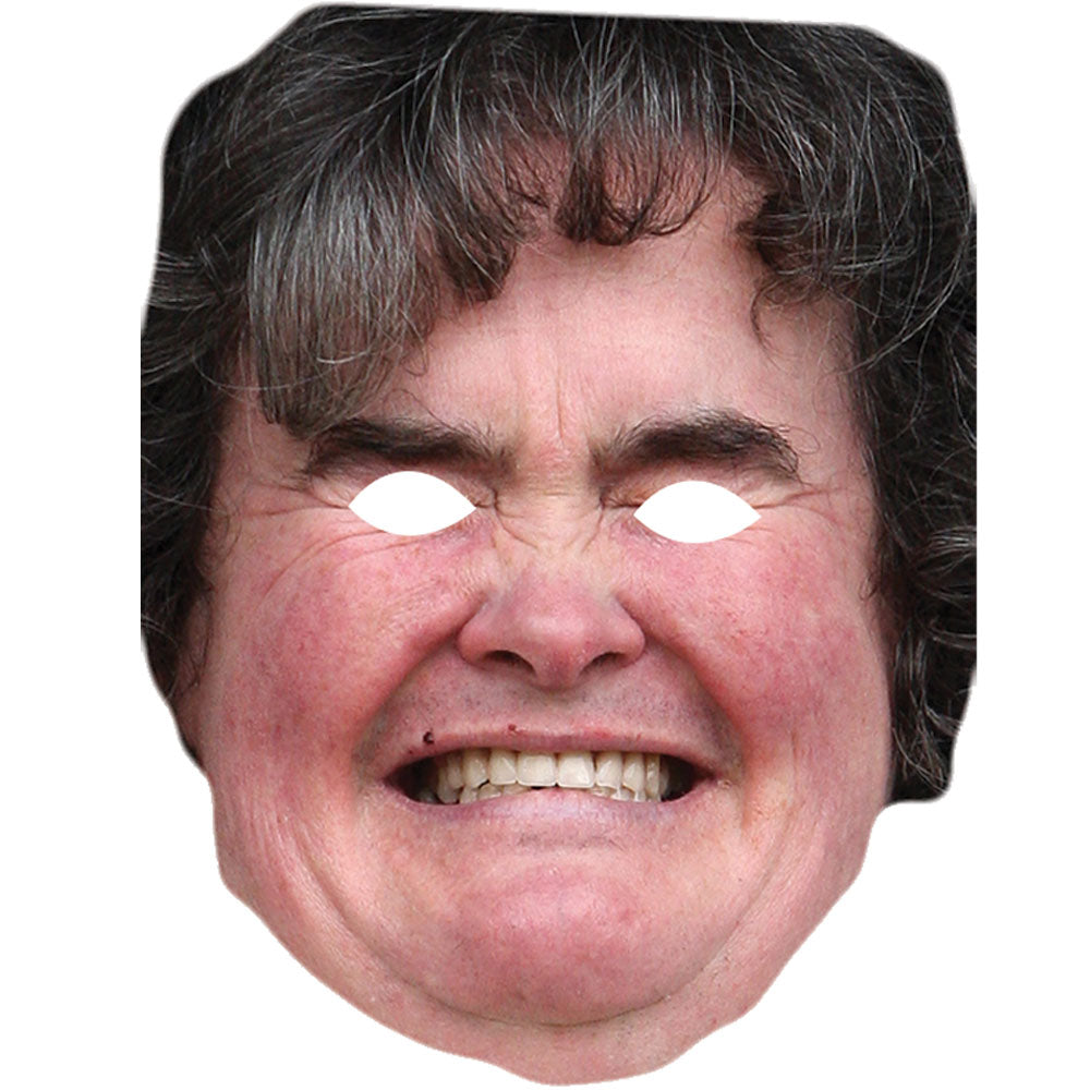 Susan Boyle Celebrity Card Face Mask Fancy Dress Party - PhotoFaceMasks - Novelty Costume Celebrity Face Masks For Sale UK
