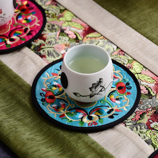 10Pcs/Set Round Embroidered Cup Mats Pads - Go Trendyz