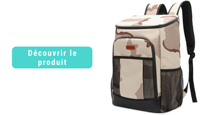 sac a dos isotherme camouflage marron 30 litres